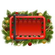 Vector Shopping Basket with Christmas Baubles
