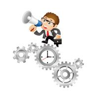 People Set - Business Businessmen time management clock with cogwheels