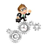 People Set - Business Businessman time management clock with cogwheels