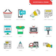 Line icons of advertising marketing product promotion vector illustration