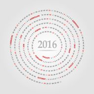 Round calendar for 2016 year Week Starts Sunday