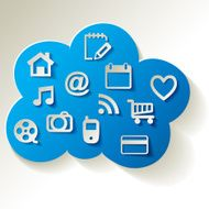 Cloud Computing blue with web icons on a white background