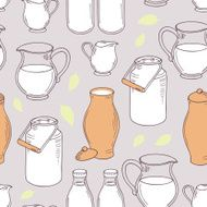 Seamless pattern with milk objects