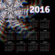 Calendar 2016 template design with header picture starts monday N2