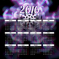 Calendar 2016 template design with header picture starts monday N3