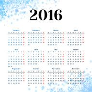 Calendar 2016 template design with header picture starts monday N4