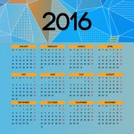Calendar 2016 template design with header picture starts monday N6