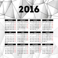Calendar 2016 template design with header picture starts monday N7