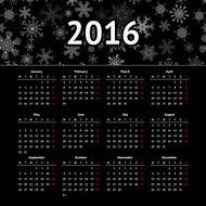 Calendar 2016 template design with header picture starts monday N8