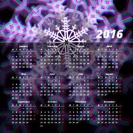 Calendar 2016 template design with header picture starts monday N10