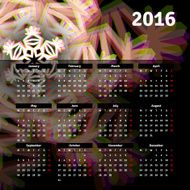 Calendar 2016 template design with header picture starts monday N11