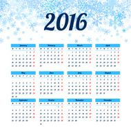 Calendar 2016 template design with header picture starts monday N12