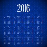 Calendar 2016 template design with header picture starts monday N13