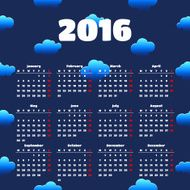 Calendar 2016 template design with header picture starts monday N14