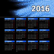 Calendar 2016 template design with header picture starts monday N17