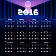 Calendar 2016 template design with header picture starts monday N19