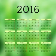 Calendar 2016 template design with header picture starts monday N20