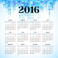 Calendar 2016 template design with header picture starts monday N22