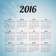 Calendar 2016 template design with header picture starts monday N23