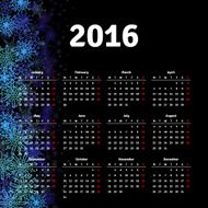 Calendar 2016 template design with header picture starts monday N25
