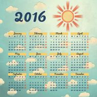 Calendar 2016 template design with header picture starts monday N26