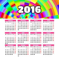 Calendar 2016 template design with header picture starts monday N27