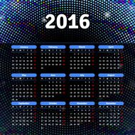 Calendar 2016 template design with header picture starts monday N28