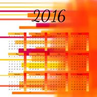 Calendar 2016 template design with header picture starts monday N30