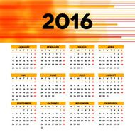Calendar 2016 template design with header picture starts monday N31