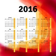Calendar 2016 template design with header picture starts monday N32