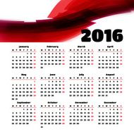 Calendar 2016 template design with header picture starts monday N33