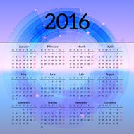 Calendar 2016 template design with header picture starts monday N34