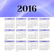 Calendar 2016 template design with header picture starts monday N35