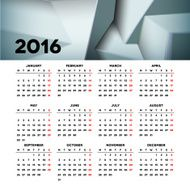 Calendar 2016 template design with header picture starts monday N36
