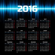 Calendar 2016 template design with header picture starts monday N37