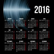 Calendar 2016 template design with header picture starts monday N38
