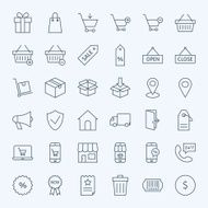 Line Shopping and E-commerce Icons Set