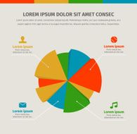 Modern infographics in a pie chart for web or print