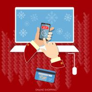Christmas shopping snowflakes e-commerce buy now concept