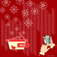 Christmas shopping snowflakes on red hands using smart phone