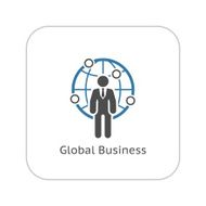 Global Business Icon Flat Design N2