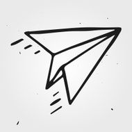 Vector paper airplane isolated hand drawn