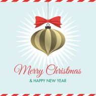 Christmas card with christmas ball red ribbon stars and logo title