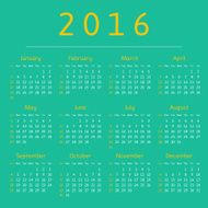 Calendar 2016 year week starts with sunday