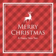 Christmas card with deer logo title and gingham pattern background
