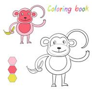 Coloring book monkey kids layout for game