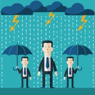 Businessman standing in rain Concept of businessman fail and competition