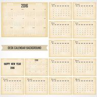 Desk Calendar 2016 Vector Design Template