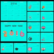Desk Calendar 2016 Vector Design Template N2