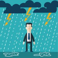 Businessman standing in the rain Vector concept of businessman fail